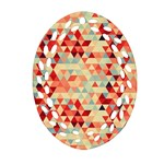 Modern Hipster Triangle Pattern Red Blue Beige Oval Filigree Ornament (2-Side)  Front