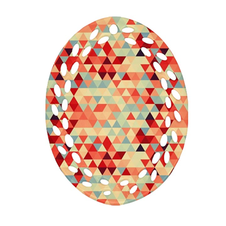 Modern Hipster Triangle Pattern Red Blue Beige Oval Filigree Ornament (2-Side)
