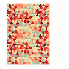 Modern Hipster Triangle Pattern Red Blue Beige Large Garden Flag (two Sides) by EDDArt