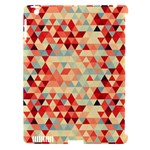 Modern Hipster Triangle Pattern Red Blue Beige Apple iPad 3/4 Hardshell Case (Compatible with Smart Cover)