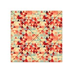 Modern Hipster Triangle Pattern Red Blue Beige Acrylic Tangram Puzzle (4  x 4 ) Front