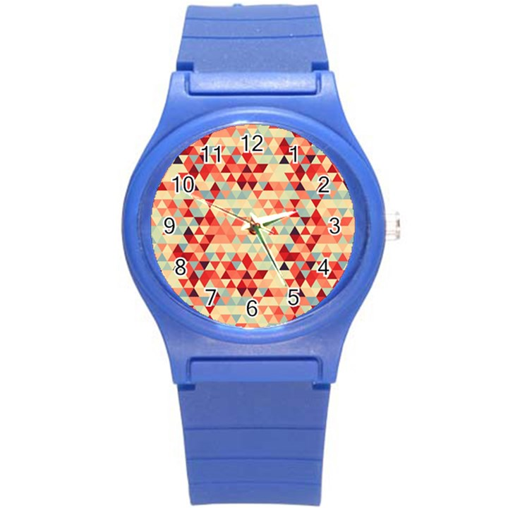 Modern Hipster Triangle Pattern Red Blue Beige Round Plastic Sport Watch (S)