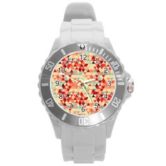 Modern Hipster Triangle Pattern Red Blue Beige Round Plastic Sport Watch (l) by EDDArt