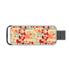 Modern Hipster Triangle Pattern Red Blue Beige Portable Usb Flash (one Side)