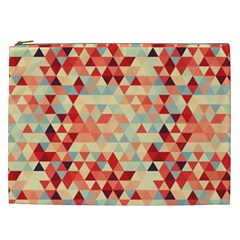 Modern Hipster Triangle Pattern Red Blue Beige Cosmetic Bag (xxl)