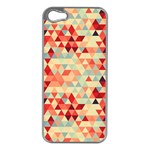 Modern Hipster Triangle Pattern Red Blue Beige Apple iPhone 5 Case (Silver)