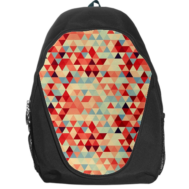 Modern Hipster Triangle Pattern Red Blue Beige Backpack Bag