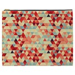 Modern Hipster Triangle Pattern Red Blue Beige Cosmetic Bag (XXXL)