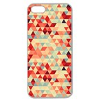 Modern Hipster Triangle Pattern Red Blue Beige Apple Seamless iPhone 5 Case (Clear) Front