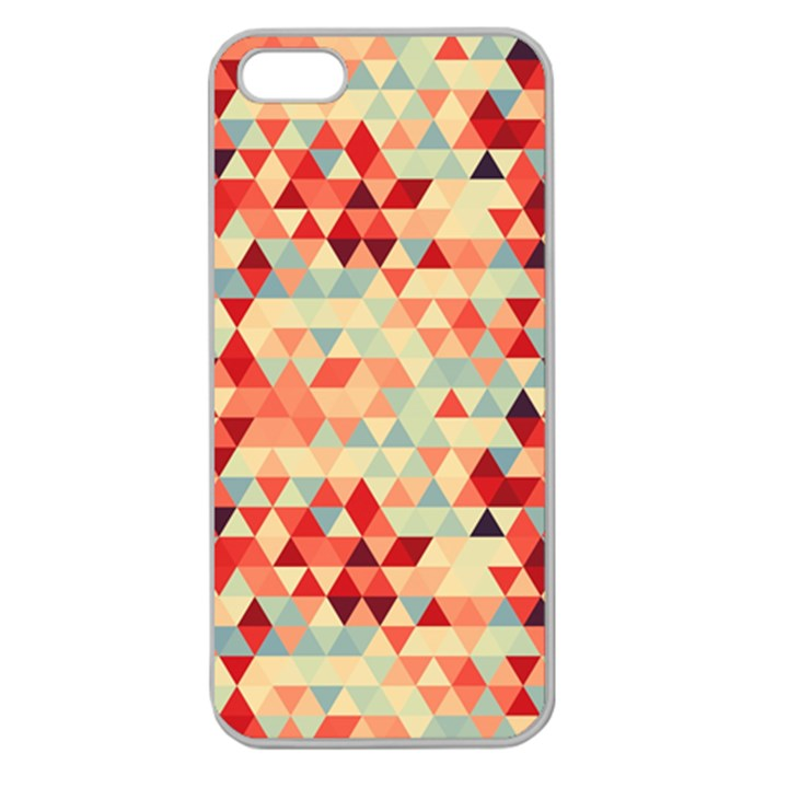 Modern Hipster Triangle Pattern Red Blue Beige Apple Seamless iPhone 5 Case (Clear)