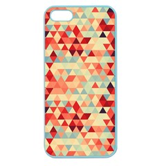 Modern Hipster Triangle Pattern Red Blue Beige Apple Seamless Iphone 5 Case (color) by EDDArt