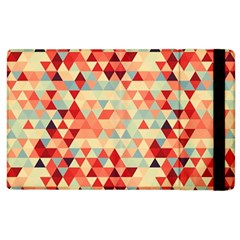 Modern Hipster Triangle Pattern Red Blue Beige Apple Ipad 3/4 Flip Case