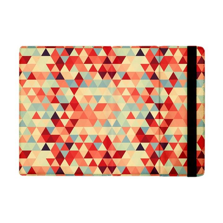 Modern Hipster Triangle Pattern Red Blue Beige Apple iPad Mini Flip Case