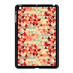 Modern Hipster Triangle Pattern Red Blue Beige Apple Ipad Mini Case (black) by EDDArt