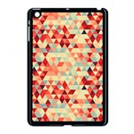 Modern Hipster Triangle Pattern Red Blue Beige Apple iPad Mini Case (Black) Front