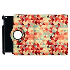 Modern Hipster Triangle Pattern Red Blue Beige Apple Ipad 3/4 Flip 360 Case
