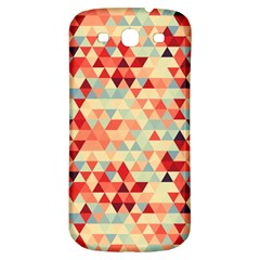 Modern Hipster Triangle Pattern Red Blue Beige Samsung Galaxy S3 S Iii Classic Hardshell Back Case by EDDArt