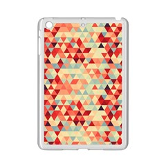 Modern Hipster Triangle Pattern Red Blue Beige Ipad Mini 2 Enamel Coated Cases