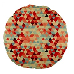 Modern Hipster Triangle Pattern Red Blue Beige Large 18  Premium Round Cushions by EDDArt