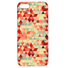 Modern Hipster Triangle Pattern Red Blue Beige Apple Iphone 5 Hardshell Case With Stand by EDDArt