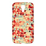 Modern Hipster Triangle Pattern Red Blue Beige Samsung Galaxy S4 I9500/I9505 Hardshell Case