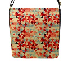 Modern Hipster Triangle Pattern Red Blue Beige Flap Messenger Bag (l)