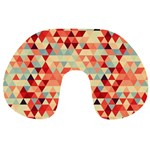 Modern Hipster Triangle Pattern Red Blue Beige Travel Neck Pillows Front