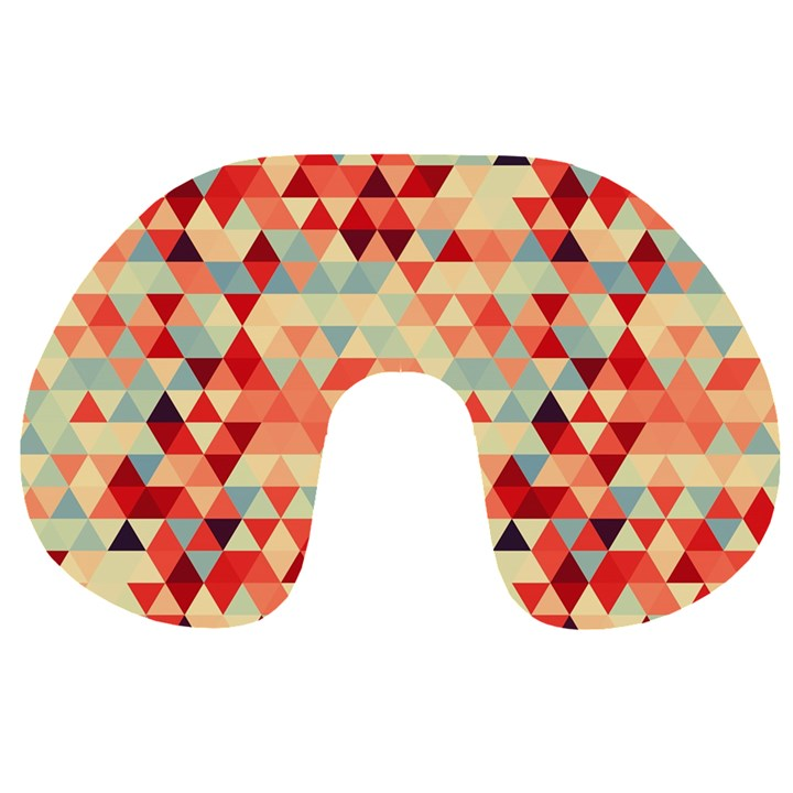 Modern Hipster Triangle Pattern Red Blue Beige Travel Neck Pillows