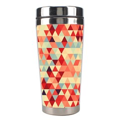 Modern Hipster Triangle Pattern Red Blue Beige Stainless Steel Travel Tumblers by EDDArt