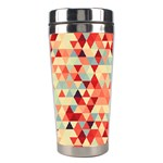 Modern Hipster Triangle Pattern Red Blue Beige Stainless Steel Travel Tumblers Right