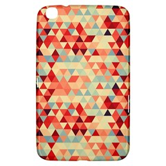 Modern Hipster Triangle Pattern Red Blue Beige Samsung Galaxy Tab 3 (8 ) T3100 Hardshell Case  by EDDArt