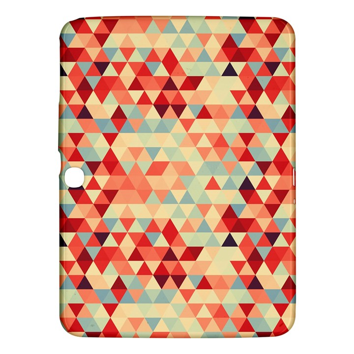 Modern Hipster Triangle Pattern Red Blue Beige Samsung Galaxy Tab 3 (10.1 ) P5200 Hardshell Case