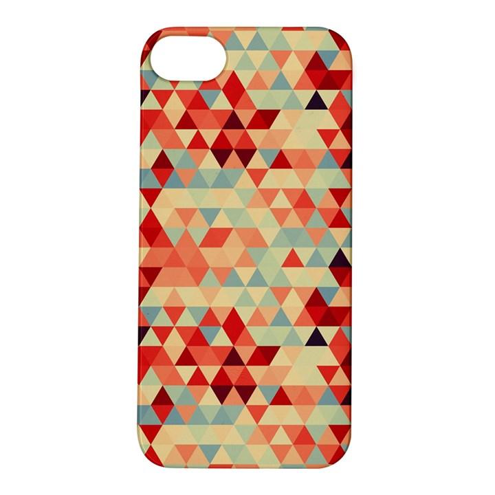 Modern Hipster Triangle Pattern Red Blue Beige Apple iPhone 5S/ SE Hardshell Case