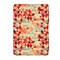 Modern Hipster Triangle Pattern Red Blue Beige Samsung Galaxy Tab 2 (10 1 ) P5100 Hardshell Case