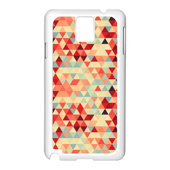 Modern Hipster Triangle Pattern Red Blue Beige Samsung Galaxy Note 3 N9005 Case (White)