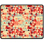 Modern Hipster Triangle Pattern Red Blue Beige Double Sided Fleece Blanket (Medium)  58.8 x47.4 Blanket Back