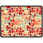 Modern Hipster Triangle Pattern Red Blue Beige Double Sided Fleece Blanket (Large)  80 x60 Blanket Back