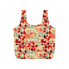 Modern Hipster Triangle Pattern Red Blue Beige Full Print Recycle Bags (s)  by EDDArt