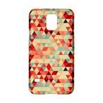 Modern Hipster Triangle Pattern Red Blue Beige Samsung Galaxy S5 Hardshell Case