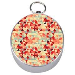 Modern Hipster Triangle Pattern Red Blue Beige Silver Compasses