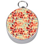 Modern Hipster Triangle Pattern Red Blue Beige Silver Compasses Front