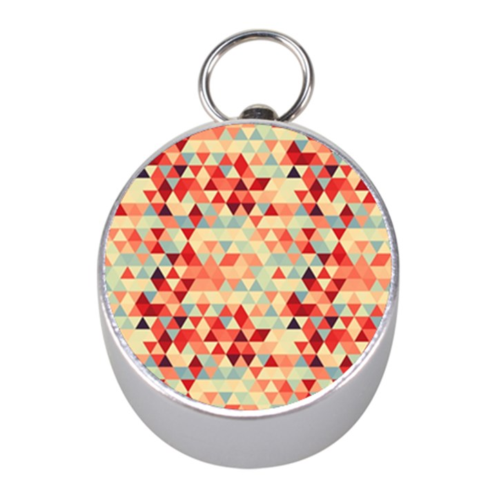Modern Hipster Triangle Pattern Red Blue Beige Mini Silver Compasses