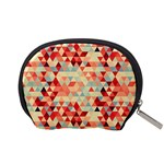 Modern Hipster Triangle Pattern Red Blue Beige Accessory Pouches (Small)  Back
