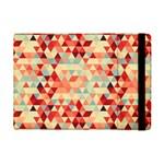 Modern Hipster Triangle Pattern Red Blue Beige iPad Mini 2 Flip Cases