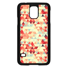 Modern Hipster Triangle Pattern Red Blue Beige Samsung Galaxy S5 Case (black) by EDDArt