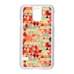 Modern Hipster Triangle Pattern Red Blue Beige Samsung Galaxy S5 Case (White)