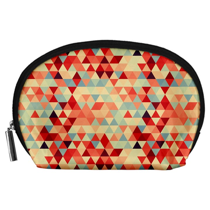 Modern Hipster Triangle Pattern Red Blue Beige Accessory Pouches (Large)