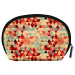 Modern Hipster Triangle Pattern Red Blue Beige Accessory Pouches (Large)  Back