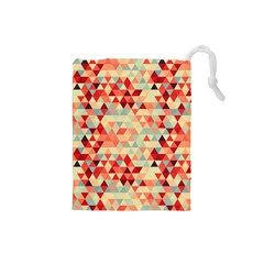 Modern Hipster Triangle Pattern Red Blue Beige Drawstring Pouches (small)  by EDDArt