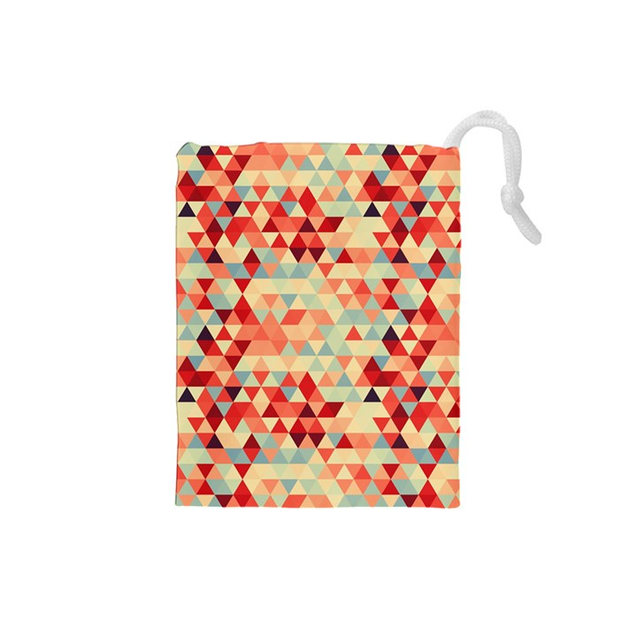 Modern Hipster Triangle Pattern Red Blue Beige Drawstring Pouches (Small)